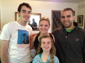 My brother Scott, my cousin Lily, BF, and myself