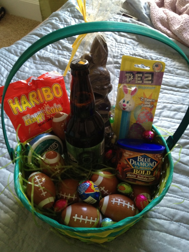 The Easter bunny knew their recipient very well. Football-shaped eggs, yep.