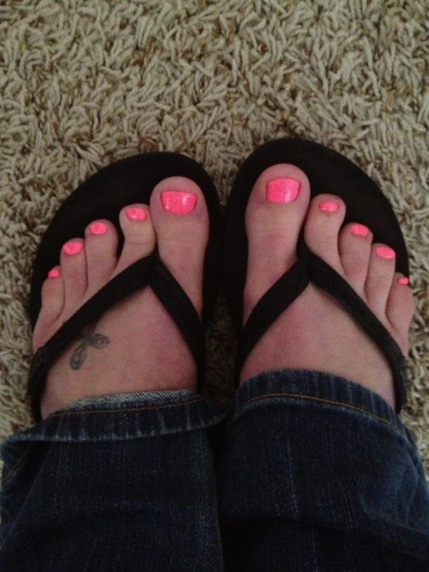 "Getting a pedicure is a marathon-week ritual of mine. This qualifies as ""readiness."" :) Also, that color is 10x more neon than the picture shows."