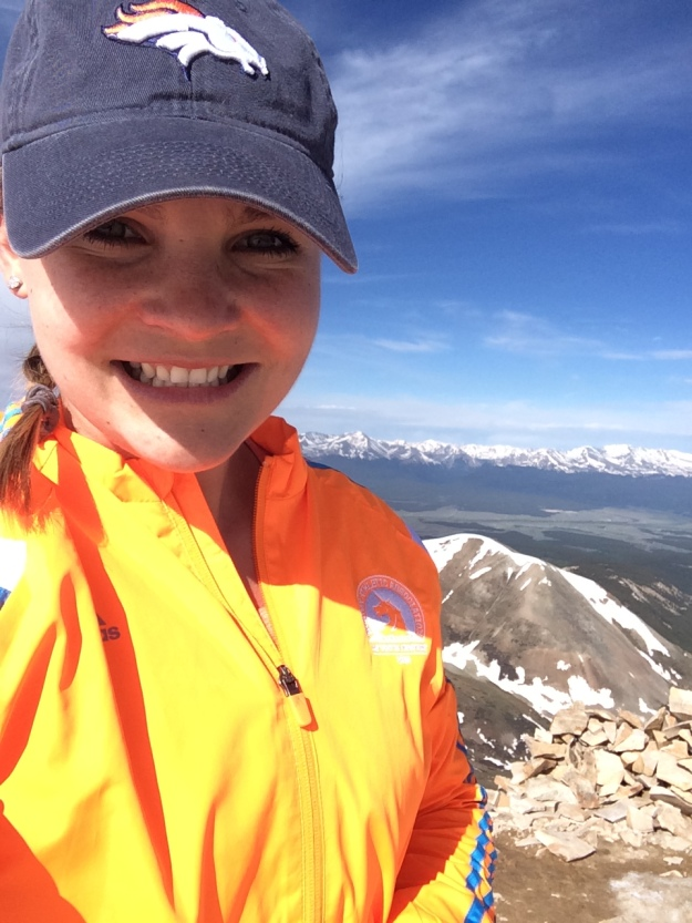 14er selfie on top of Sherman. Broncos hat and Boston jacket=clutch.