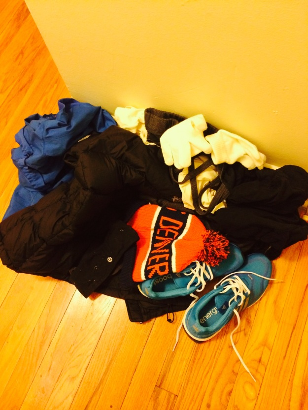 This is the average amount of clothing I had to lay out before every day I ran last week.