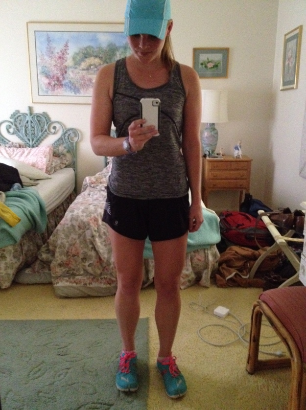 One of my first runs post-injury and in the midst of flare recovery. I was in California and elated to be in shorts and a tank. Obviously, based on the mirror selfie.